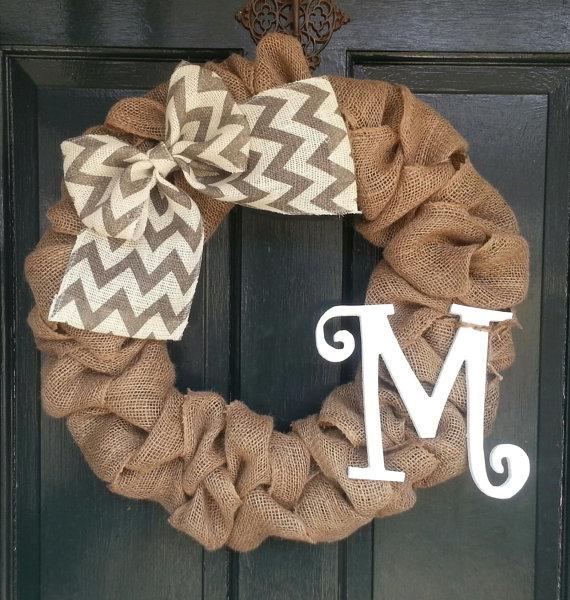 wreaths, wreath, sarah in style, burlap, monogram