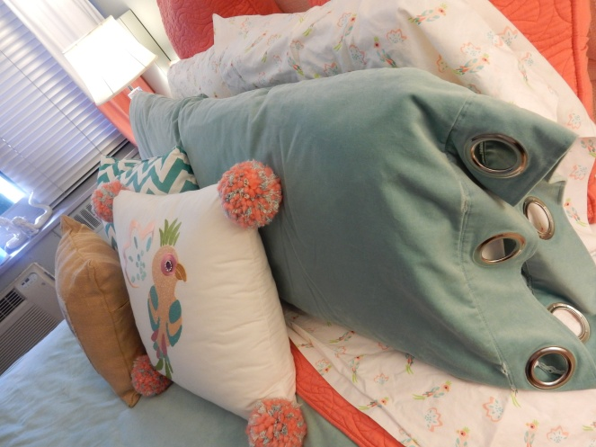 sarahinstyle.com, sarah in style, bedroom, interior design, sanctuary, my own bed, coral and blue, windy city bloggers, design blogger, chicago blogger