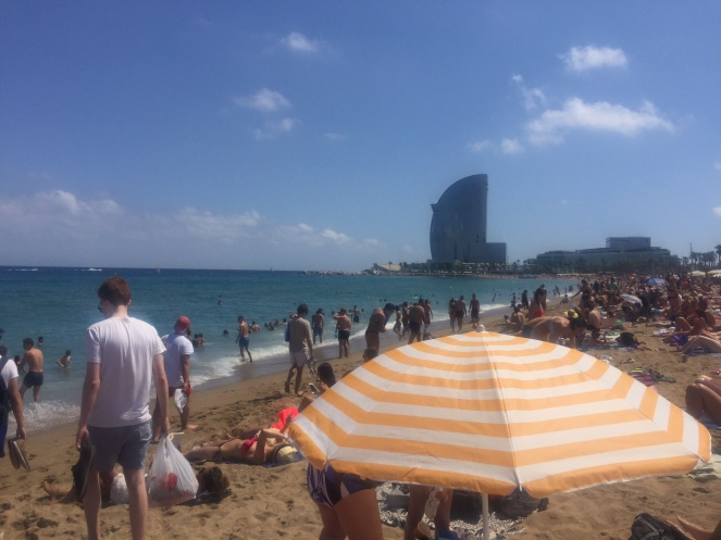 barceloneta beach, el nacional, barcelona, spain, park guell, sagrada familia, el born, el nacional, sarah in style, travel blogger, european adventure, windy city bloggers