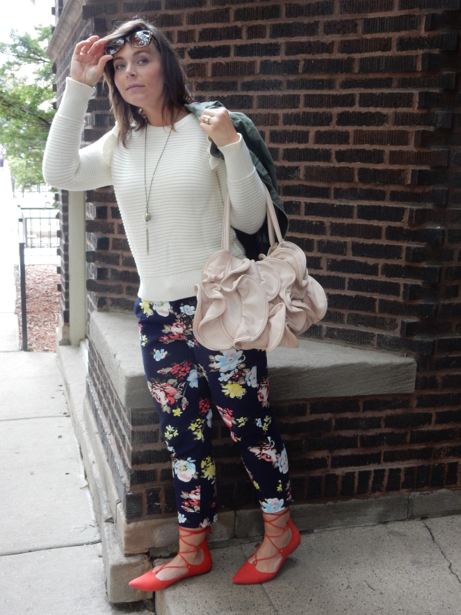 Fall Floral, Sara In Style, sarahinstyle.com, Sarah Meyer, Chicago Blogger, Fashion Blogger, Windy City Bloggers, floral pants, red shoes, fall style, colorful wardrobe, old navy, gap, j. crew