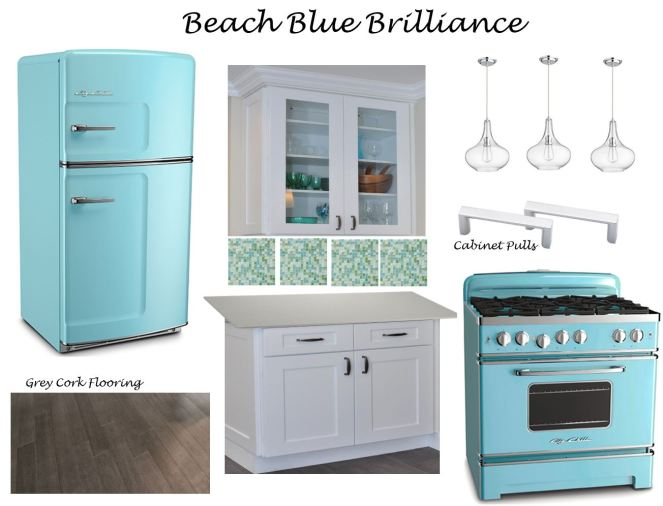 beach kitchen, beachy kitchen, blue fridge, blue stove, Big Chill, bigchill.com, retro kitchen appliances, pink refrigerator, grey and pink kitchen, sarah in style, grey kitchen tile, Anthropology, Ikea, sarahinstyle.com, interior design blog, interior design, modern home, pink kitchen