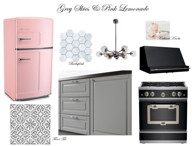Big Chill, bigchill.com, retro kitchen appliances, pink refrigerator, grey and pink kitchen, sarah in style, grey kitchen tile, Anthropology, Ikea, sarahinstyle.com, interior design blog, interior design, modern home, pink kitchen