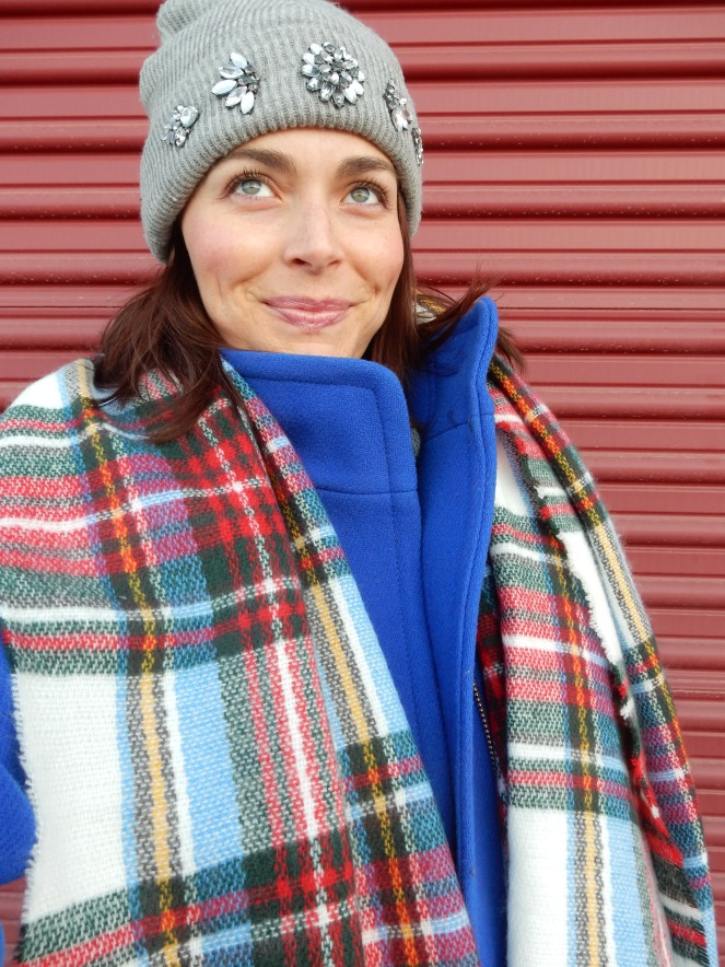 Winter coats, blue winter coat, colorful winter coats, blinged beanie, sarah in style, sarahinstyle.com, sarah meyer, plaid scarf, loft, ann taylor, j. crew, vince camuto, windy city bloggers, fashion blogger, #wcbcstyle, chicago blogger, city style, celebrity pink