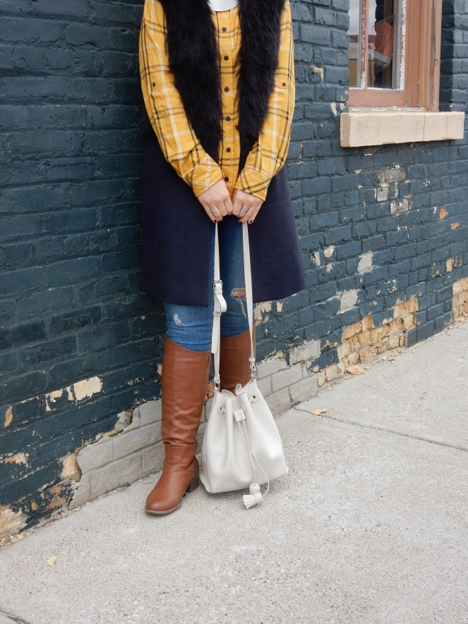 plaid world, plaid shirt, furry vest, sarah in style, sarah meyer, bay city michigan, pure michigan, windy city bloggers collective, wcbcstyle, fashion blogger, how to wear plaid, styling plaid, styling fur, fur