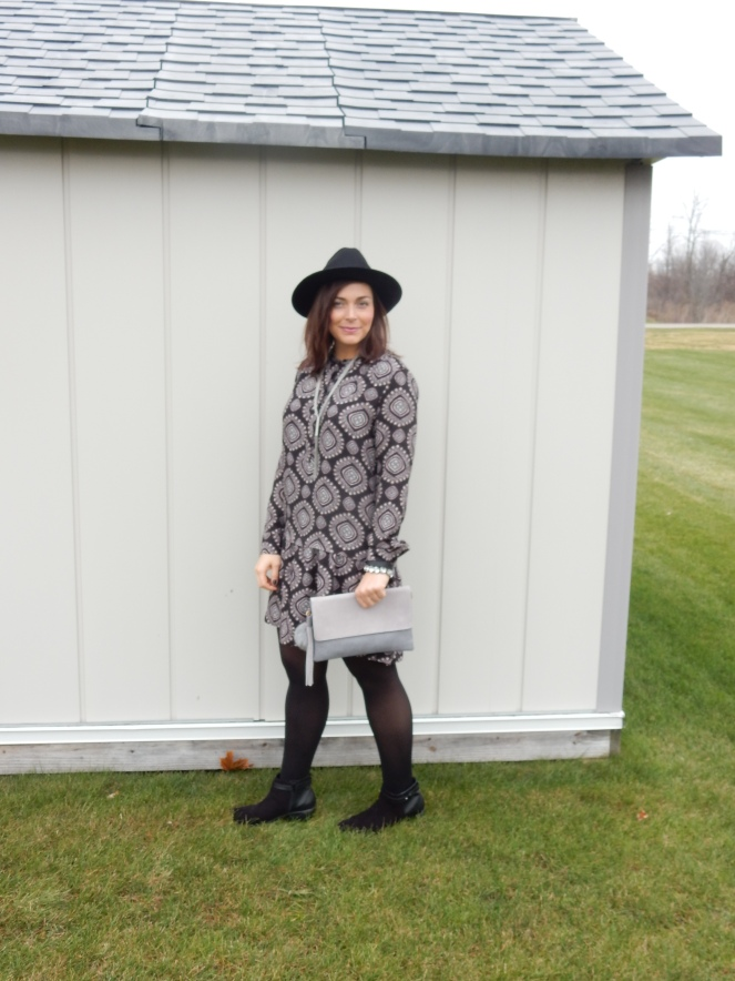 Pretty In Paisley, Sarah In Style, How to add color to an outfit, how to add color to your wardrobe, adding color to your outfit, adding color to your wardrobe, little black dress, LBD, sarahinstyle.com, black hat, pom pom purse, winter wardrobe, styling tips, style tips, fashion blogger