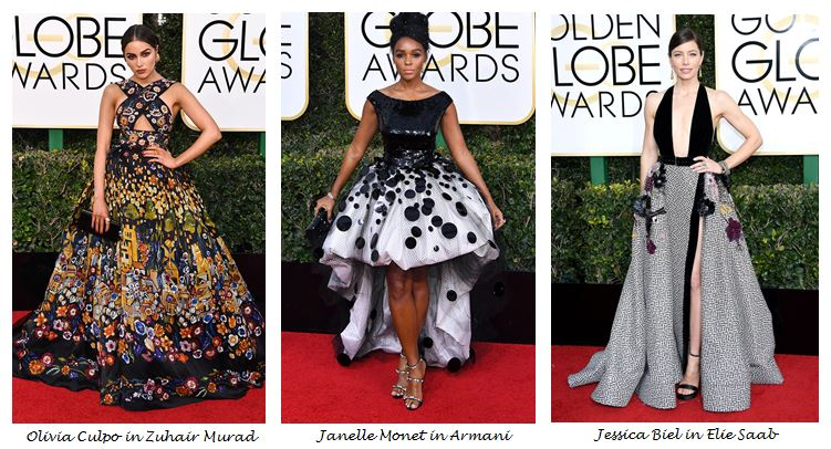 Golden Globes 2017, Red Carpet, Red Carpet Fashion, Golden Globes, Best Dressed, Celebrity Style, Sarah In Style, sarahinstyle.com, fashion blogger, hollywood red carpet, celeb styling, Jesscia Biel, Elie Saab, Olivia Culpo. Janelle Monet, Armani, Zuhair Murad