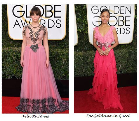 Golden Globes 2017, Red Carpet, Red Carpet Fashion, Golden Globes, Best Dressed, Celebrity Style, Sarah In Style, sarahinstyle.com, fashion blogger, hollywood red carpet, celeb styling, Felicity Jones, Zoe Saldana, Gucci