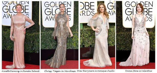Golden Globes 2017, Red Carpet, Red Carpet Fashion, Golden Globes, Best Dressed, Celebrity Style, Sarah In Style, sarahinstyle.com, fashion blogger, hollywood red carpet, celeb styling, Chrissy Tiegen, Drew Barrymore, Annette Benning, Emma Stone, La La Land, Valentino, Monique Lhullier, Marchesa, Pamela Roland
