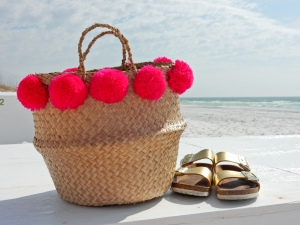 Judith March, fringe top, caftan, beach ensemble, summer style, Destin, Florida, emerald coast, beach style, sarahinstyle.com, sarah in style, sarah meyer, fringe beach bag, pom pom bag, Hobby Lobby, gold chunky sandals