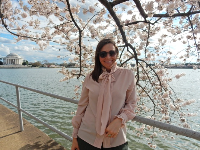 pink bow tie top, Washington D.C. Cherry Blossom Festival, Cherry Blossom Festival , Cherry Blossoms, D.C. Cherry Blossoms, Washington D.C., District of Columbia, Springtime, Spring fling, spring flowers, flowering trees, sarah in style, sarahinstyle.com, Sarah Meyer, Tidal Pond, Jefferson Memorial, DC Monuments, Ruffled Pink Blouse