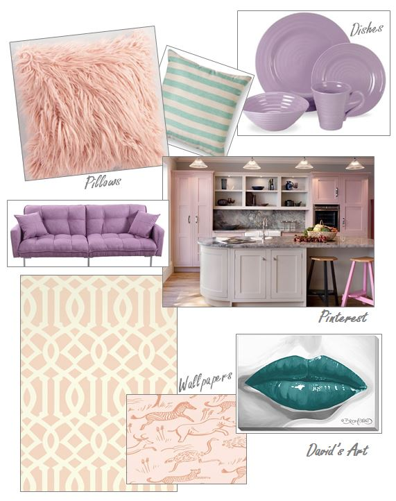 blush pillow, mint green pillow, pastel purple, pastel purple dishes, bed bath and beyond, pastel couch, lilac couch, blush kitchen, blush wallpaper, David Bromstad, teal lips, pastel art, you're making me blush, sarah in style, sarahintstyle.com, Sarah Meyer, design tips, spring trends, spring decorating