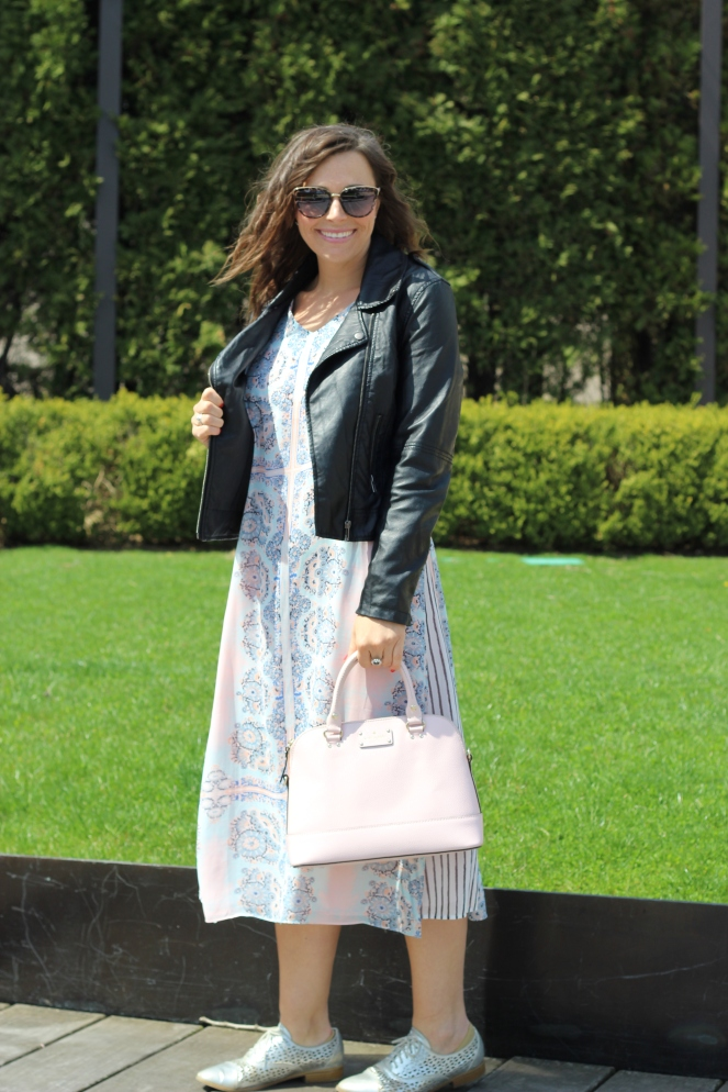 Kate, Spade, Kate Spade pink purse, Kate Spade Toucan, Kate Spade black and white, Tribal, Cotton On, Leather jacket, moto jacket, Millenium Park, Chicago, Fashion blogger, Chicago blogger, day to night, OOTD, Sarah In Style, Target, Akira, Sarah Meyer, Spring fashion, spring dresses