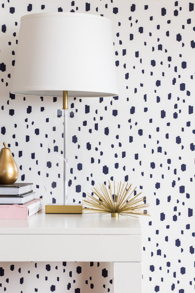 Caitlin Wilson Navy Spotted Wallpaper, Caitlin Wilson, Navy Spotted Wallpaper, Pierre frey, wallpaper, arty wallpaper, bold paper, design trends, fun wallpapers, stencils, sarah in style, sarahinstyle.com, Sarah Meyer, design blogger, on the blog, design trends