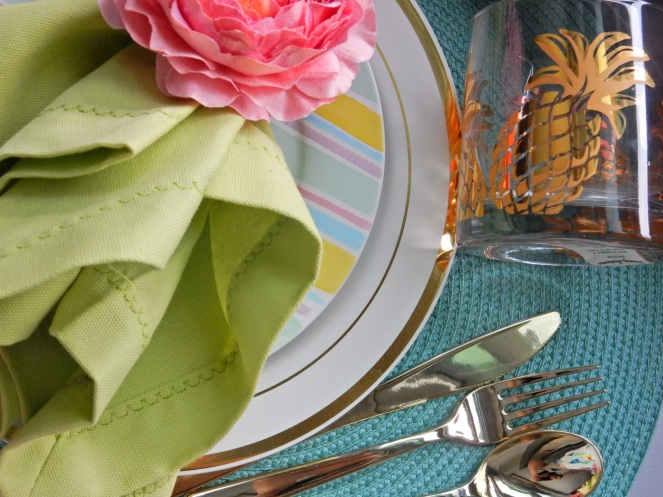 Sarah In Style, Dining Decor, Flirty Florals. Entertaining, Hosting, Event Planning, Decor, Decorating, Tablescape, Table decor, Table layout, Pier 1, Target, floral napkin rings, decorating on a dime, decorating on a budget, gold silverware, plastic gold silverware