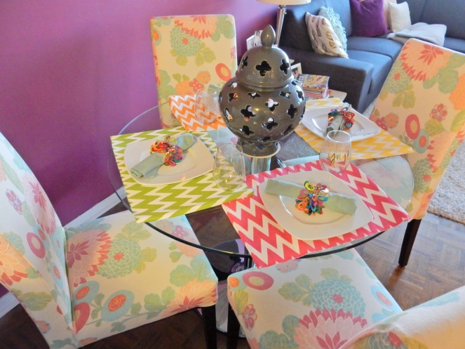 placemats, zigzag, Dining Decor, Table Decor, Table Decorations, Table Settings, Decorating, Home Decor, Linens, Sarah In Style, Sarah Meyer, sarahinstyle.com, design blogger, decorating blog, Chicago design, pier one, Thibaut, Dania, Crate & Barrell