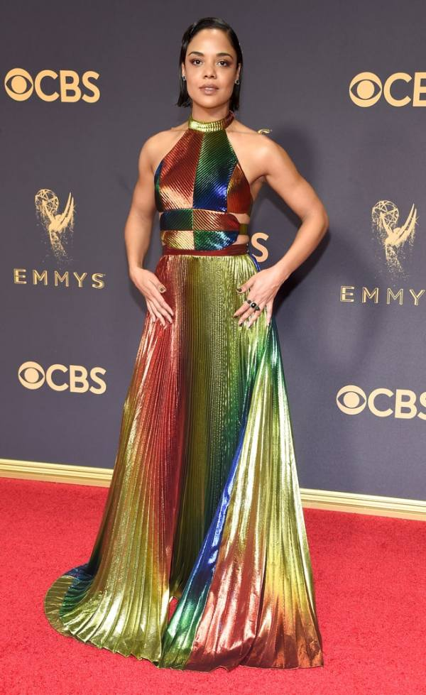 Rosie Assoulin, Emmy Awards, Emmys, Emmys Red Carpet, Emmys 2017, Celebrity Style, Celeb Best Dressed, Emmys Red Crapet 2017, Sarah In Style, Awards Season, Celeb Fashion, Sarah Meyer, Tessa Thompson,