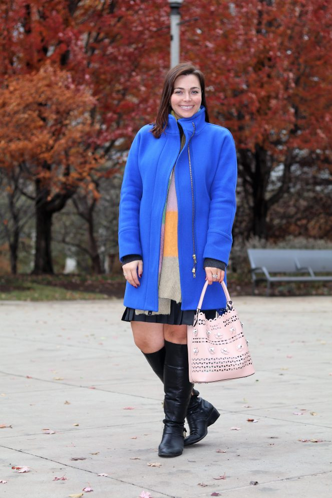 fall style, Blue coat, winter coat, colorful coat, J Crew, Winter fashion, what coat to buy, chicago skyline, chicago, millenium park, the bean, cloud gate, pritzker pavilion, maggie daley park, nectar sunglasses, nectar, sarah in style, sarah meyer, fashion blog, fashion blogger, winter style, no blues about it, a day in millenium park