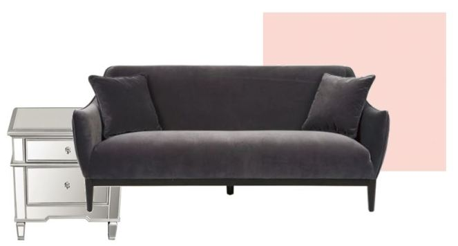 pink and grey room, grey velvet sofa, pink walls, Pink velvet sofa, Joss and Main, The Velveteen Throne, The Velvet Throne, Velvet, Velvet Couch, Velvet Sofa, Velvet furniture, Jonathan Adler, Article.com, Wayfair velvet sofa, interior design, fall interiors, winter interiors. winter design, sarah in style, sarahinstyle.com, deisgn blog, Sarah Meyer, how to decorate for winter