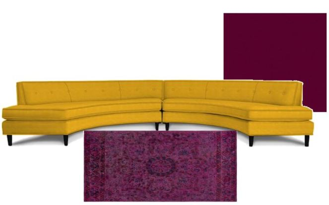 Yellow velvet sofa, round sofa, Pink velvet sofa, Joss and Main, The Velveteen Throne, The Velvet Throne, Velvet, Velvet Couch, Velvet Sofa, Velvet furniture, Jonathan Adler, Article.com, Wayfair velvet sofa, interior design, fall interiors, winter interiors. winter design, sarah in style, sarahinstyle.com, deisgn blog, Sarah Meyer, how to decorate for winter
