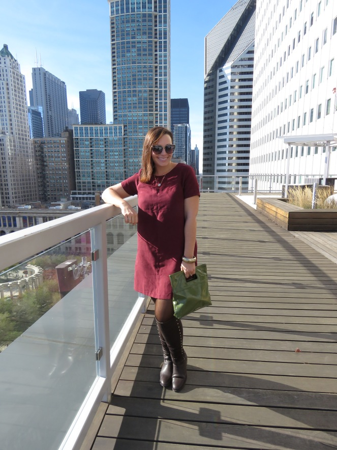 Boots are made for walking, boots, brown boots, vince camuto, how to style boots, Landon Lacey, simple necklaces, delicate necklaces, millenium park, chicago skyline, maroon suede dress, winter fashion, winter style, all about boots, sarah meyer
