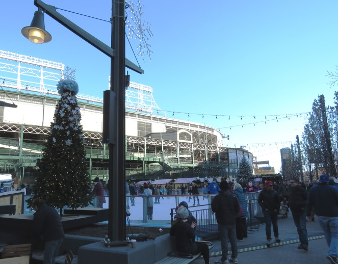 chicago ice rinks, Chicago ice skating, Christmas Market, Chriskindlemarket, Christkindlmarket, chicago traditions, chicago, chicago christmas, the park at wrigley, what to do in chicago this weekend, chicago activities, sarah in style, sarahinstyle.com, sarah meyer, family traditions, pink ruffled sweater, green jcrew coat, wrigley field, daley plaza, naperville