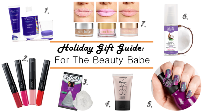 Beauty Gifts, beauty Gift Guide, Holiday Gift Guide, Gift Guide, Gift Guides, Gifts for the beauty babe, gifts for makeup junkies, , Gifts for Relaxation, sarah in style, christmas gift ideas, NARS, copacabana, crystal deodorant, clearly coconut oil, sara happ, lip restoration, lip masks, lip scrubs, loreal lip color, infallible loreal, Sinful colors, punk yourself, pop white, best tooth whitening, tooth whitener, teeth color corrector