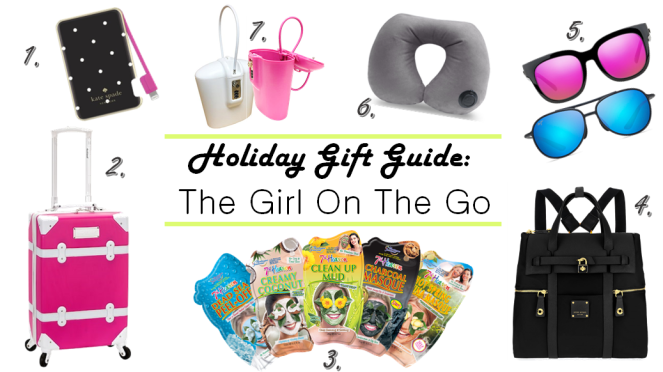 Holiday Gift Guide, Gift Guide, Gift Guides, Gifts for the fashion lover, girl on the go, gifts for travelers, gifts for busy people, sarah in style, christmas gift ideas, safego, maui jim, nectar sunglasses, rockland luggage, streetcar luggage, pink luggage, 7th heaven masks, sheet masks, fask masks for travel, henri bendel, sleek backpacks, inflatable neck pillow, magellan pillow, best airplane pillow, kate spade charger