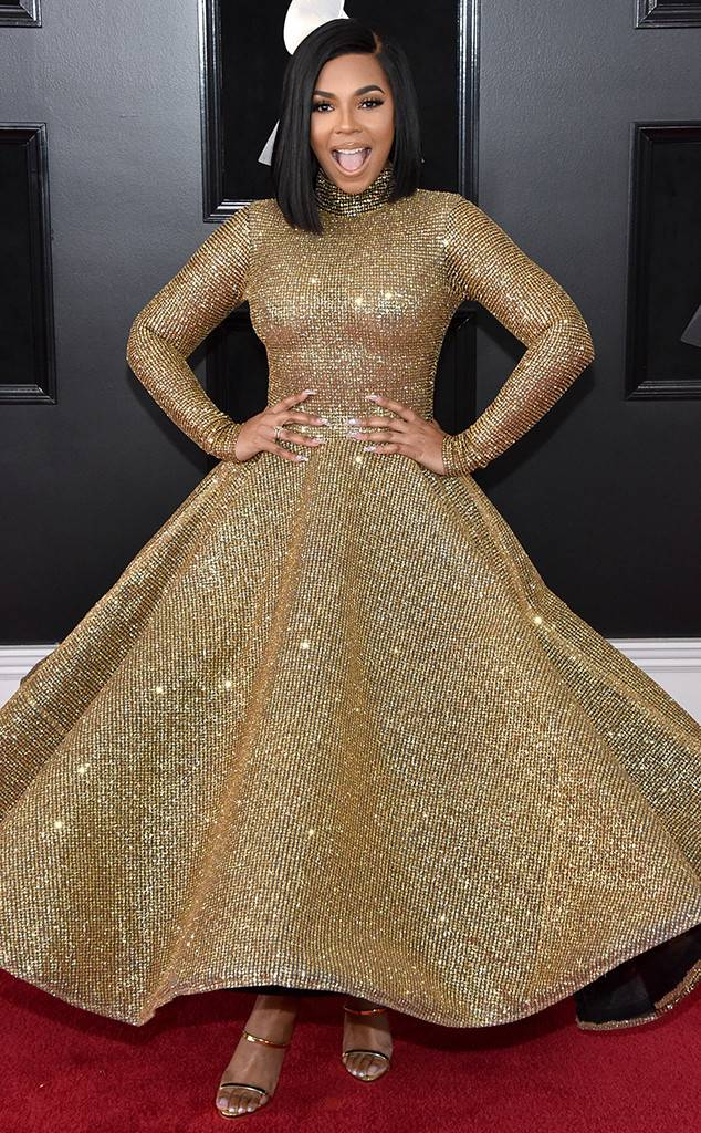 Ashanti, Grammy Awards, Grammys. 2018 Grammys, The Grammy's, red carpet, best dressed, celebrity style, musics biggest night, metallics, sparkle, jewel tones, Sarah Meyer, sarah in style, sarahinstyle.com