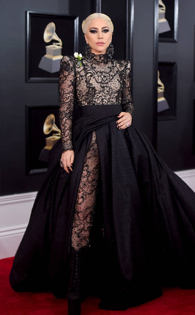 Lady Gaga in Armani Prive, Grammy Awards, Grammys. 2018 Grammys, The Grammy's, red carpet, best dressed, celebrity style, musics biggest night, metallics, sparkle, jewel tones, Sarah Meyer, sarah in style, sarahinstyle.com