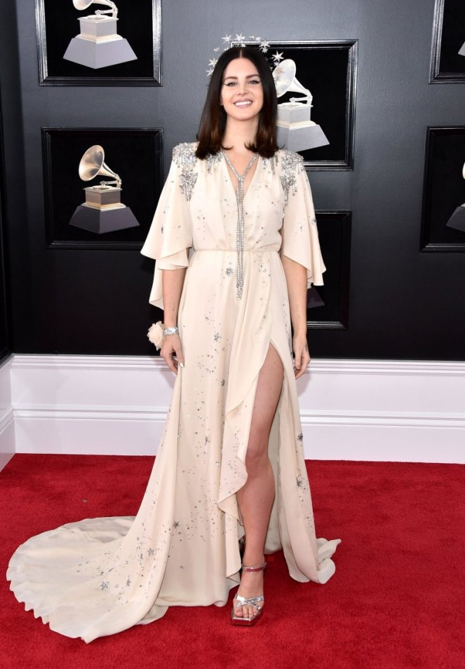 Lana Del Rey, Gucci, Grammy Awards, Grammys. 2018 Grammys, The Grammy's, red carpet, best dressed, celebrity style, musics biggest night, metallics, sparkle, jewel tones, Sarah Meyer, sarah in style, sarahinstyle.com