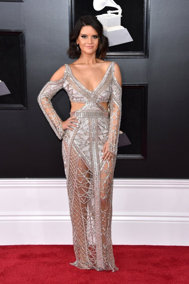 Maren Morris, Julien MacDonald, Grammy Awards, Grammys. 2018 Grammys, The Grammy's, red carpet, best dressed, celebrity style, musics biggest night, metallics, sparkle, jewel tones, Sarah Meyer, sarah in style, sarahinstyle.com
