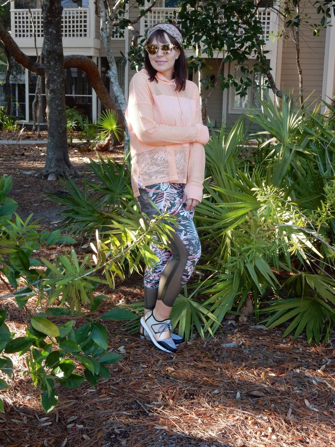 vacation workouts, florida workouts, beach workouts, cotton on active wear, palm print workout clothes, cool tennis shoes, sarah in style, hairdo, clip in bangs, Sarah Meyer, alternative work outs, exercise outdoors, cute exercise clothes, fashion blog, fashion blogger, what I wore