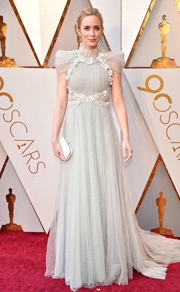 Emily Blunt, Schiarapelli, Mira Sorvino, Romona Keveza, Allison Williams, Armani Prive, Academy Awards, Oscars, Oscars Best Dressed, Best Dressed, 2018 Red Carpet, Red Carpet Fashion, Celebrity Style, Celebrity Fashion. Zuhair Murad, Gina Rodriguez, Top Looks of the night