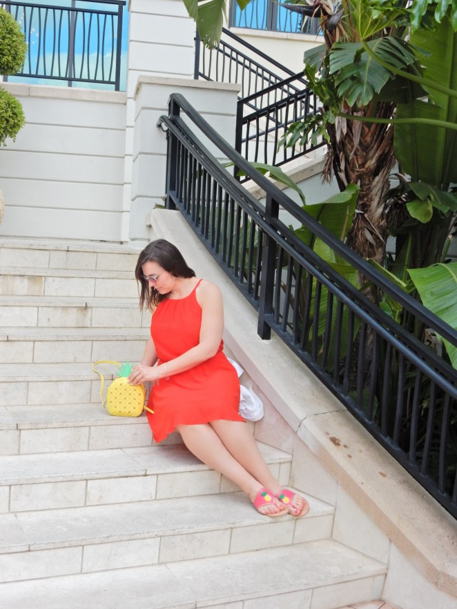 Pineapple purse, pineapple sandals, Lady in Red, dresses for cheap, fashion comfort zone, try new fashions, sarah in style, summer red dress, Sarah Meyer, Soft Surroundings, Jack Rogers sandals, Kate Spade pineapple purse, Omni Champions gate, red and pink together, Florida style, tropical fashion