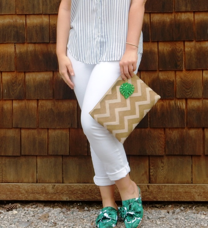 summer white, summer slides, summer mules, palm print shoes, palm print slides, soft surroundings shoes, perfect summer outfit, summer fashion tips, what to wear this summer, summer trends, blogger fashion tips, Sarah Meyer, Sarah In Style, Talbots girlfriend jeans, sunglass warehouse, mudpie gold clutch, palm leaf fashion