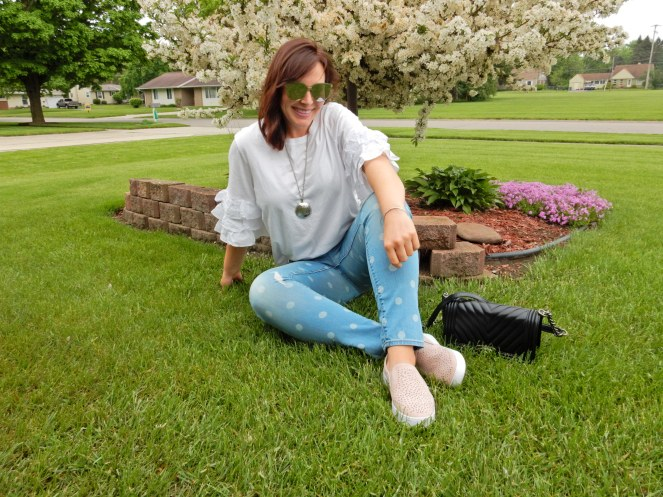 sarah in style, sarahinstyle.com, Sarah Meyer, Vionic tennis shoes, pink Vionic shoes, Vionic. best supportive shoes, cute supportive shoes, Chanel cross body, black chanel bag, polka dot jeans, white ruffled top, sunglass wharehouse, spring style, dressing for you, finding your style, chicago blogger, fashion blogger tips