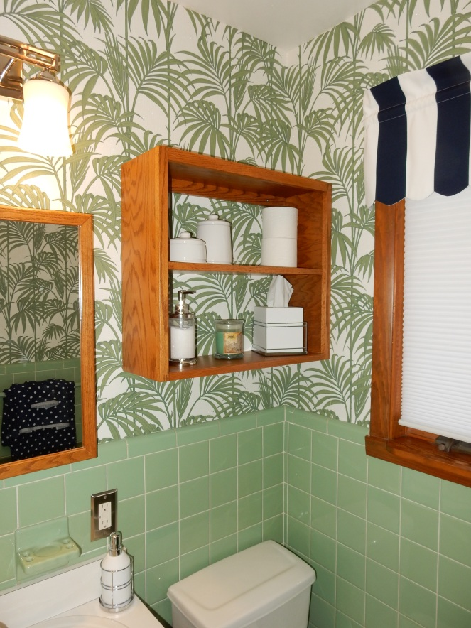 before and after, bathroom renovation, vintage green tile, vintage tile, bathroom oasis, tropical bathroom, wallpaper projects, bold wallpaper, wallpaper updates, bathroom updates, cabana striped valance, navy and white stripes, palm leaf wallpaper, Graham & Brown, Graham and Brown, wallpaper tips, wallpaper DIY, Sarah In Style, blogger DIY, apartment therapy before and after