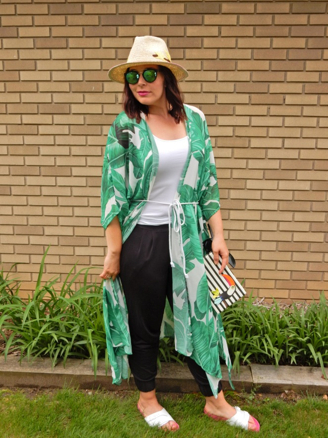 toucan hat, soft surroundings, toucan accessories, kate spade toucan purse, black and white stripes, summer styling, urban jungle, palm print wrap, palm wrap, palm cover up, Sarah In Style, Sarah Meyer, if you toucan can, white birkenstocks, fun summer clothing, blogger styling tips