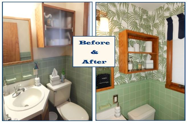 before and after, bathroom renovation, vintage green tile, vintage tile, bathroom oasis, tropical bathroom, wallpaper projects, bold wallpaper, wallpaper updates, bathroom updates, cabana striped valance, navy and white stripes, palm leaf wallpaper, Graham & Brown, Graham and Brown, wallpaper tips, wallpaper DIY, SArah In Style, blogger DIY