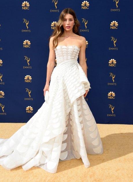 Jessica Biel, Ralph & Russo, Emmy Awards, Emmy Awards 2018, Celeb Style, Celebrity Style, Celebrity Fashion, Red Carpet Fashion, Red Carpet, #redcarpet, best dressed, best dressed celebs. fashion awards, Sarah In Style, Sarah Meyer