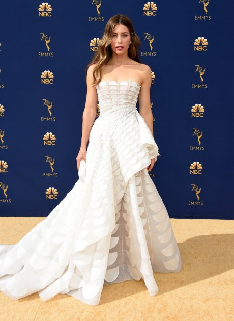 Jessica Biel, Ralph & Russo, Emmy Awards, Emmy Awards 2018, Celeb Style, Celebrity Style, Celebrity Fashion, Red Carpet Fashion, Red Carpet, #redcarpet, best dressed, best dressed celebs. fashion awards, Sarah In Style, Sarah Meyer