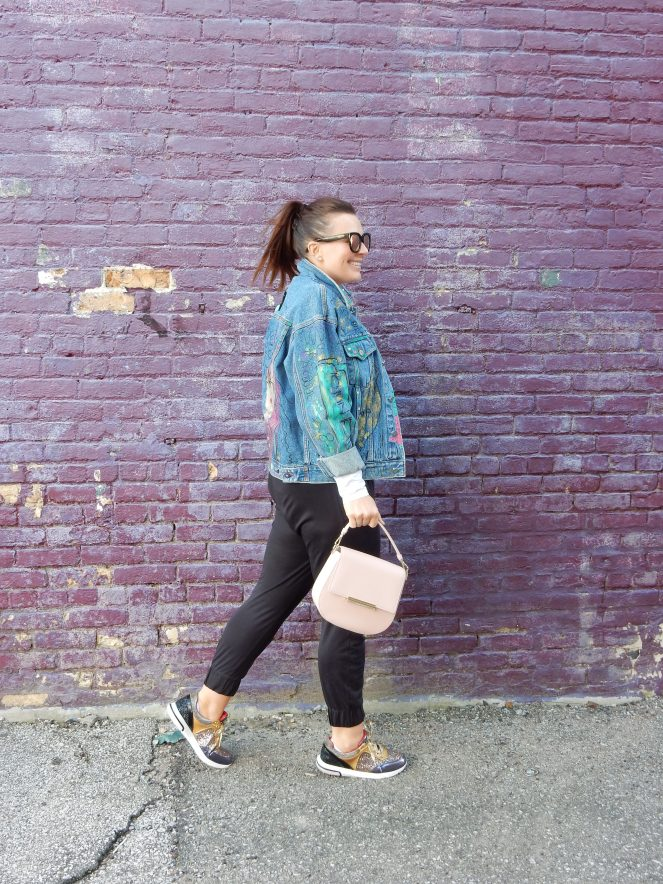 90's Jean Queen, Jean Queen, What's Old Is New Again, Retro Fashion, Painted Jean Jacket, Painted Denim Jacket, Bejeweled Jean Jacket, Calvin Klein Jean Jacket, Sarah In Style, Multi Color Glitter Sneakers, Kate Spade pink purse, Get out there, Sunglass Warehouse, Bay City Michigan, Sarah Meyer, Fashion Retake