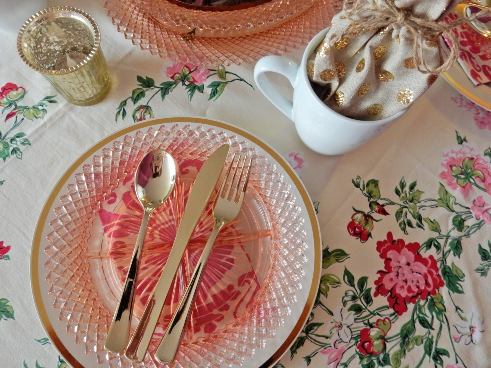 Dining Decor, Through Rose Colored Glass, Miss America glassware, table decor, table decorations, table inspiration, table set up, vintage glassware, vintage tablecloth, tea party decor, Sarah In Style, Sarah Meyer, blogger decorating tips