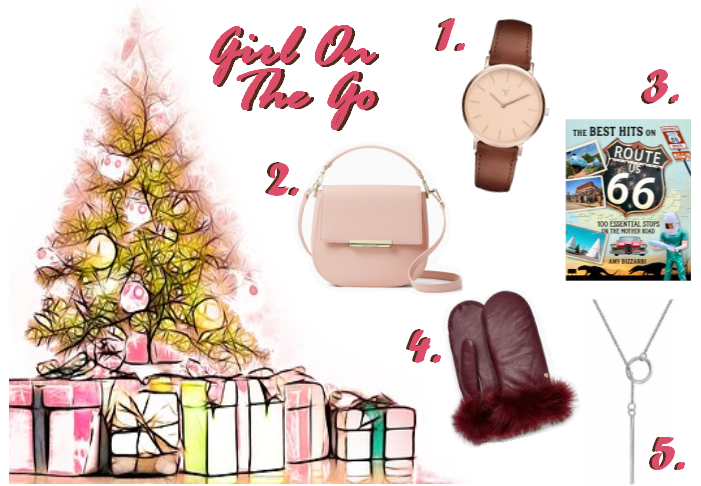 Holiday Gift Guide, Gift Guide, Gift Guides, Gifts for the fashion lover, girl on the go, gifts for travelers, gifts for busy people, sarah in style, christmas gift ideas, holiday gift guides, Kate Spade Byrdie, Convertible bags, Leather mittens, Ugg mittens, route 66 book, leather women's watch, blush and bar