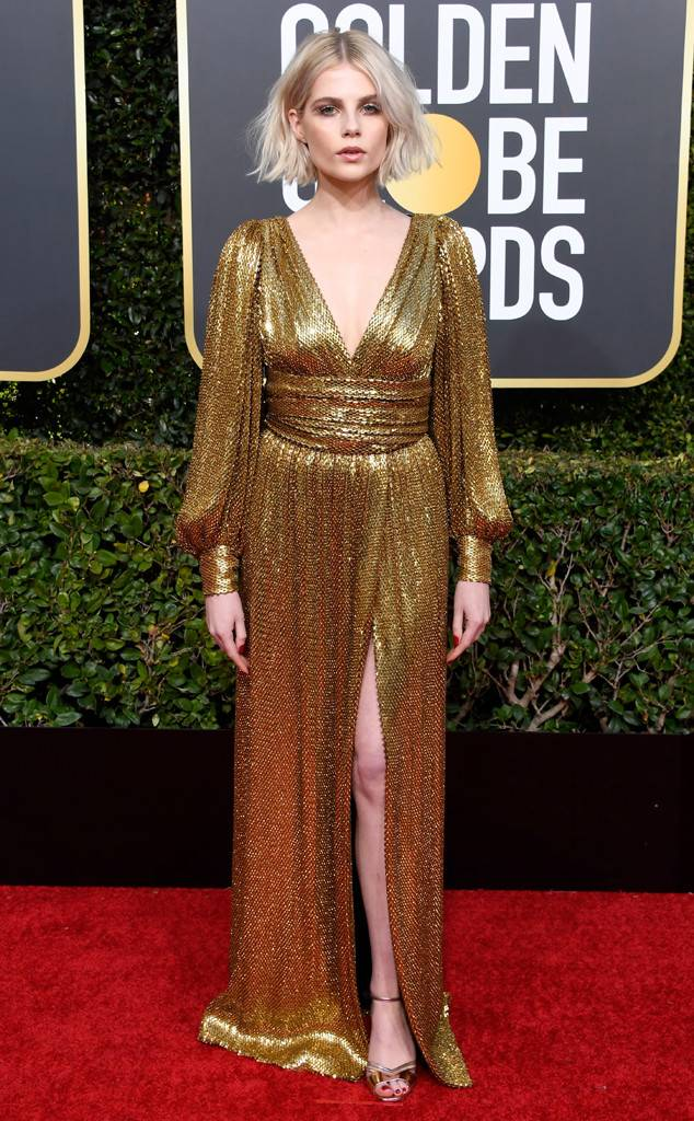 Lucy Boynton, Golden Globes, Globes 2019, Golden Globes Best Dressed, Best Dressed 2019, Red Carpet, Red Carpet Fashion, Celebrity Best Dressed, Celebrity Fashion, Awards Season, What they Wore, On the red carpet, Celebrity style, Sarah In Style, Sarah Meyer, Celebrity looks, Beverly Hilton, awards show fashion