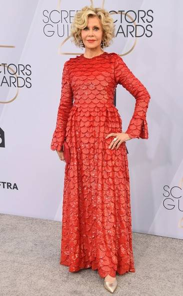 Jane Fonda, SAG AWARDS, SAG Awards Best Dressed, Screen Actors Guild, Screen Actors Guild Awards, Best Dressed 2019, Red Carpet, Red Carpet Fashion, Celebrity Best Dressed, Celebrity Fashion, Awards Season, What they Wore, On the red carpet, Celebrity style, Sarah In Style, Sarah Meyer, Celebrity looks, awards show fashion