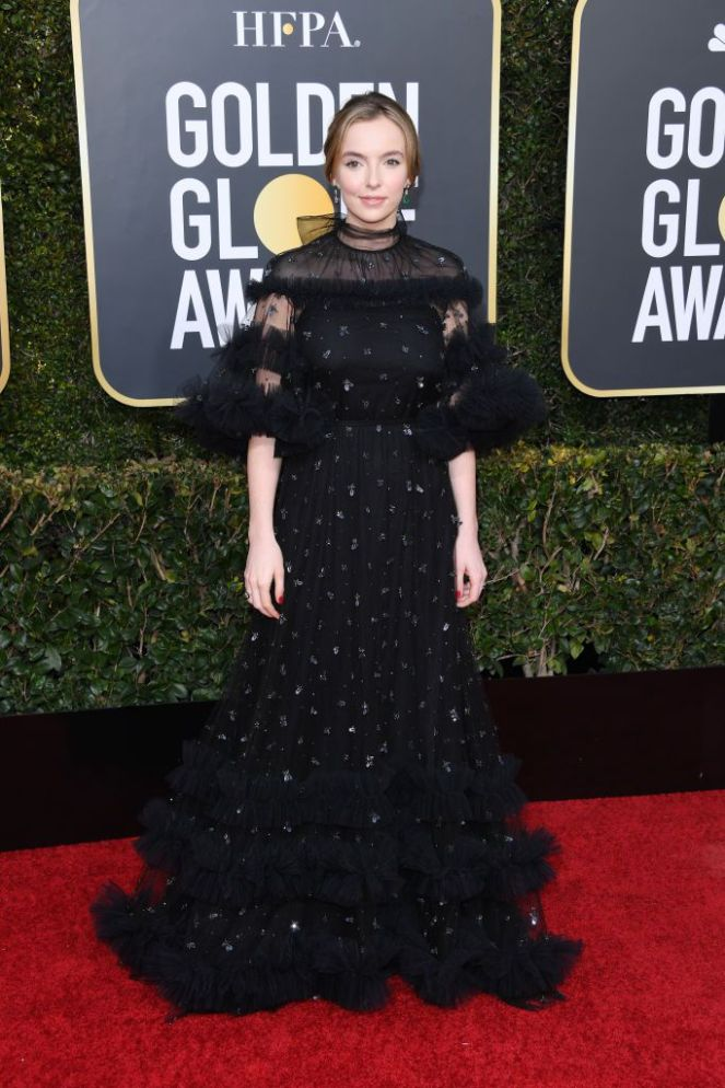 Jodie Comer, Golden Globes, Globes 2019, Golden Globes Best Dressed, Best Dressed 2019, Red Carpet, Red Carpet Fashion, Celebrity Best Dressed, Celebrity Fashion, Awards Season, What they Wore, On the red carpet, Celebrity style, Sarah In Style, Sarah Meyer, Celebrity looks, Beverly Hilton, awards show fashion