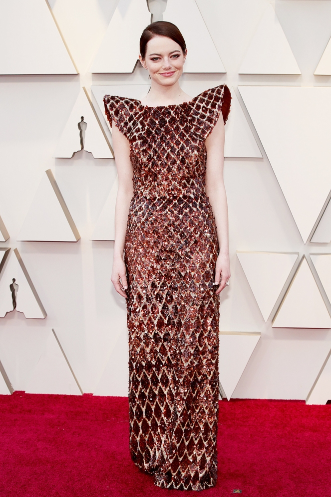 Emma Stone, Louis Vuitton, 91st Academy Awards, Dolby Theater Hollywood, Oscars 2019, Academy Awards, Red Carpet, Oscars Red Carpet 2019, Best Dressed, Celebrity Fashion, On the red carpet, celebrity style, red carpet jewelry, most expensive jewelry at the oscars, most expensive jewelry at the academy awards, awards season best looks, Sarah In Style, Sarah Meyer, Kodak Theater, Roosevelt Hotel Los Angeles