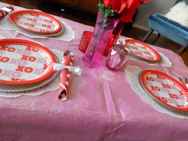 Dining Decor, Valentines Decorations, Valentines Table, Valentines Meal Ideas, Sarah In Style, Sarah Meyer, interior decorating, tablescape, decorating ideas, table ideas, February table, decorating blog, decorating blogger, Dollar Tree, decorating on the cheap, cheap party planning tips, cheap party planning