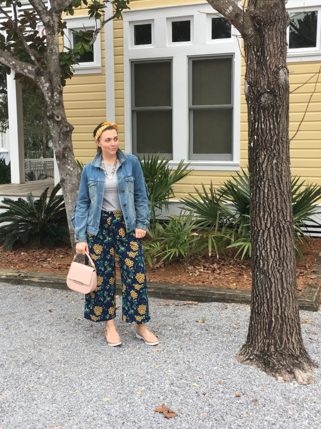Yellow Clothing, Yellow Pattern Pants, Nude Platform Shoes, Pink Kate Spade, Yellow Headband, J. Crew wide leg pants, who what wear denim jacket, ruffle denim jacket, Seaside FL, Highway 30A, yellow houses, Mixing patterns, how to wear yellow, Sarah Meyer, Spring 2019 Fashion, Blogger Fashion Inspiration, Fashion Tips, Sarah In Style
